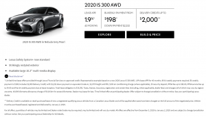 2020 Lexus IS 300 special offer