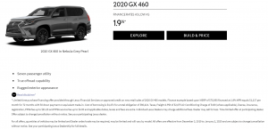 2020 GX 460 FINANCE RATES AS LOW AS 1.9%